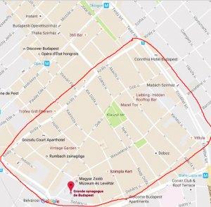 Map quartier juif à Budapest