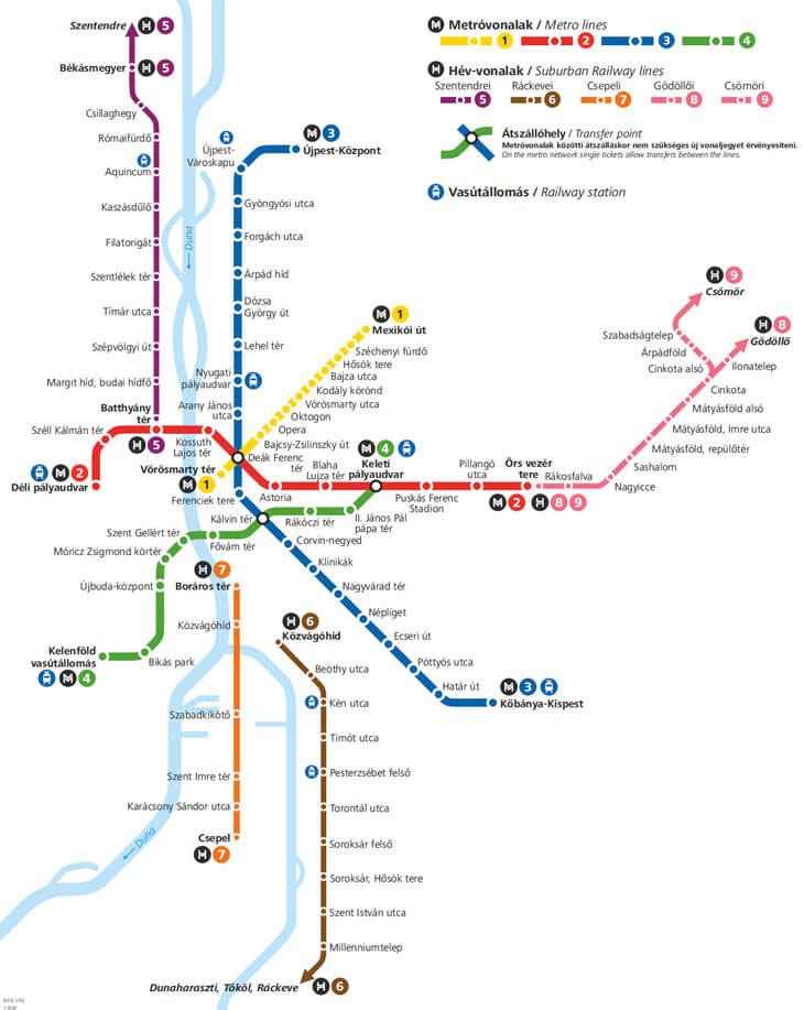 Maps de métro de Budapest