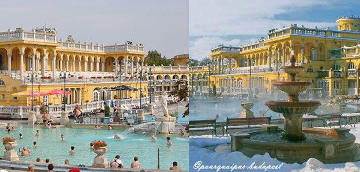 Thermes Széchenyi en été et en hiver